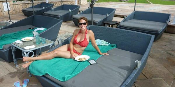 Eating lunch by the pool