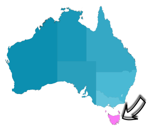 Australia Map, highlighting Tasmania