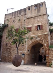 The floating tree art piece in Jaffa