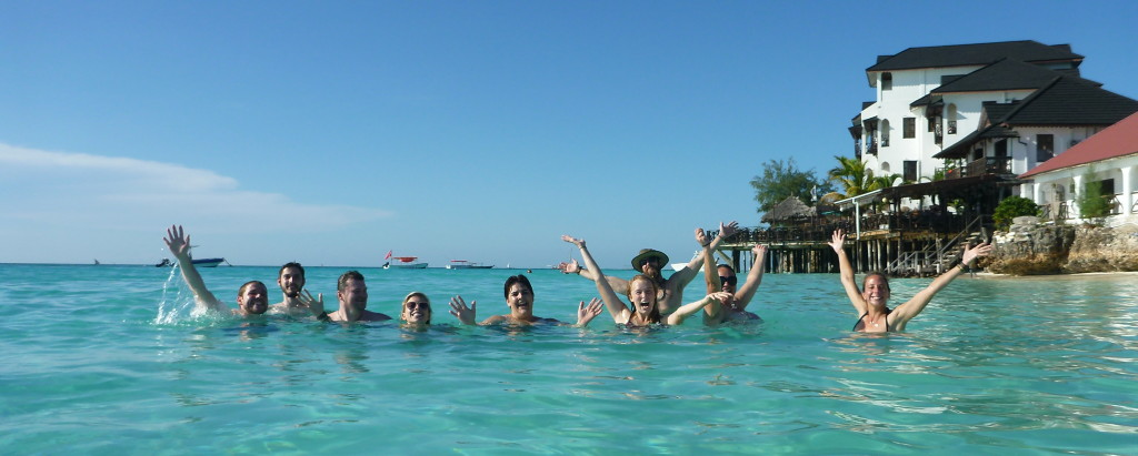 The group enjoying beach time