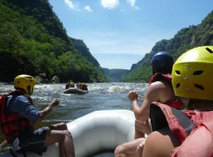 Whitewater rafting the mighty Zambezi River