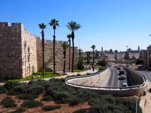 The modern Jerusalem, with the Old City behind