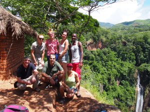 The hiking crew at Manchewe Falls, Livingstonia