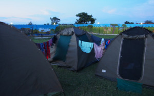 Using the tents as a washing line