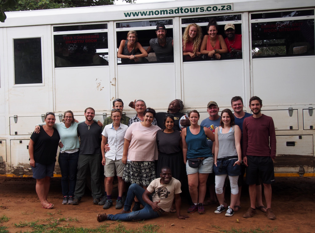 Nomads group photo together with our crew and truck Morrison