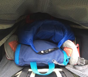 Top down view of packed hiking pack