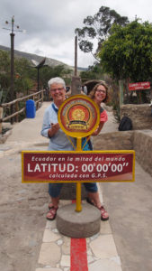 On the equator line at the Intiñan Museum