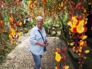 Mum amongst the orchids at Nathaly