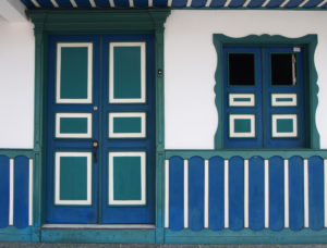Colourful windows and doorways in Salento Town