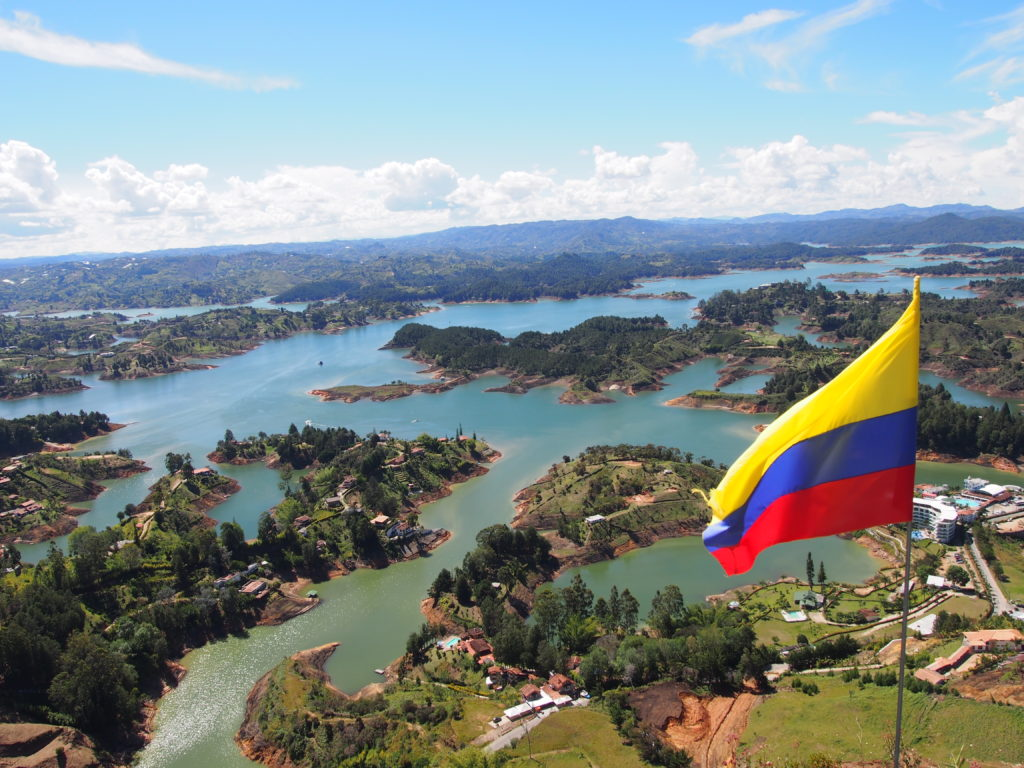 View of Guatape lake from Piedra El Peñol