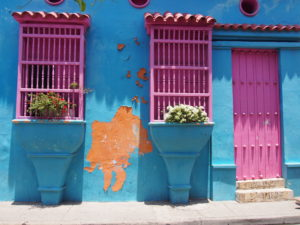 Amazing colours in the old spanish colonial buildings int the Old City of Cartagena