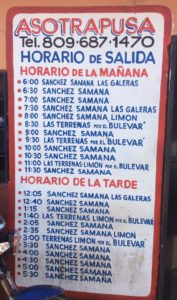 Bus Schedule from Santo Domingo
