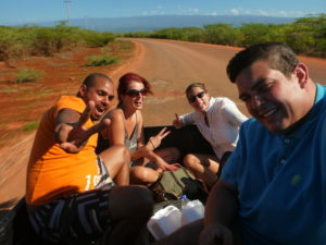 Riding in a pickup truck to Bahia de las Aguilas