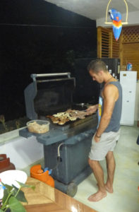 Marc helping cook the hostel BBQ