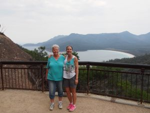 Mum and I at the Wineglass Bay Lookout in Freycinet National Park