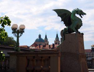 Dragon Bridge guarding the city of Ljubljana, Slovenia
