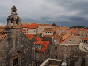 The beautiful sea of orange roofs in Dubrovnik old town, seen from the city walls