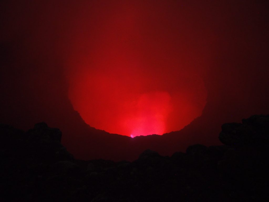Glowing lava in the Masaya Volcano